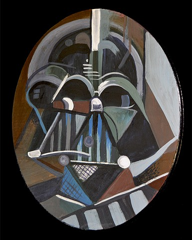 "Darth Vader 14"" x 11"" Acrylic on Wood Oval"