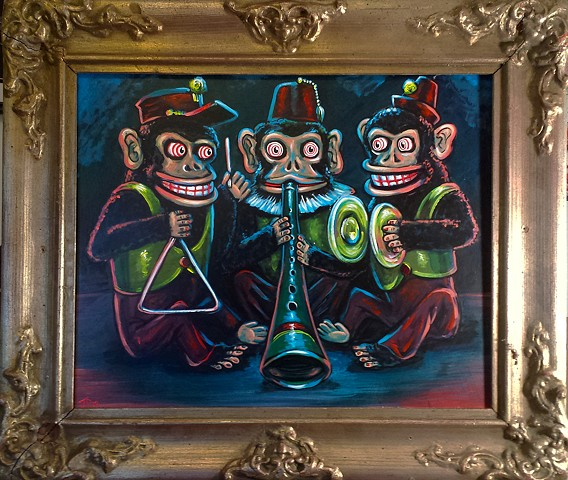 Painting of three evil clown monkey musician