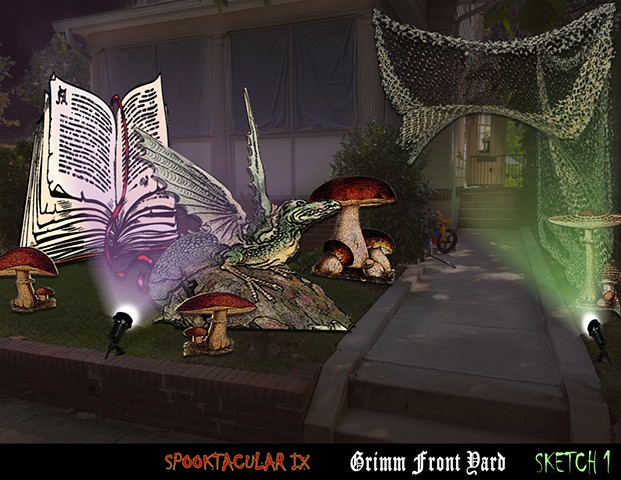 Design of a book and dragon for Halloween Party