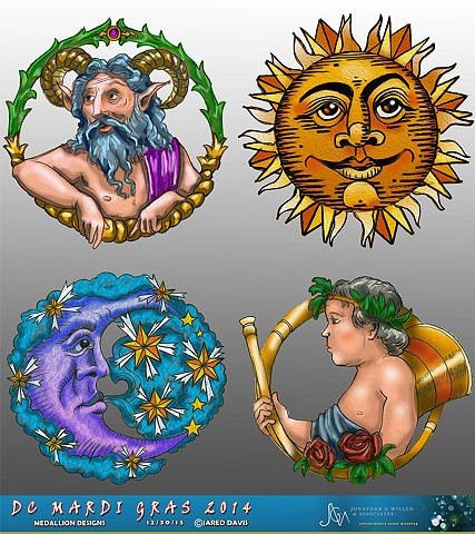 Medallion Designs for Ceiling of DC Mardi Gras 2014