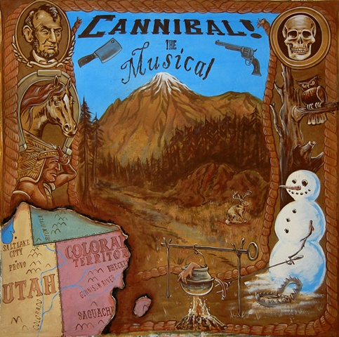 Backdrop for Cannibal the Musical for Landless Theatre Company