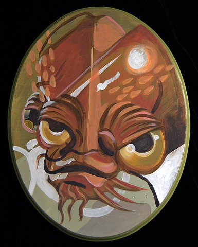 "Admrial Ackbar  14"" x 11"" Acrylic on Wood Oval"
