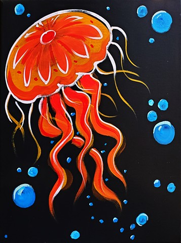 Velvet Painting of Spooky Sea Life