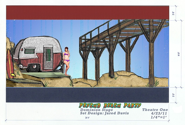 Set Design for Psycho Beach Party with Shasta Trailer, Pier, Sand Dunes