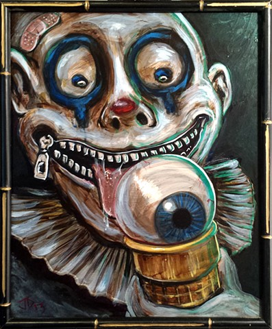 Painting of a creepy clown with a zipper mouth licking an eyeball ice cream cone