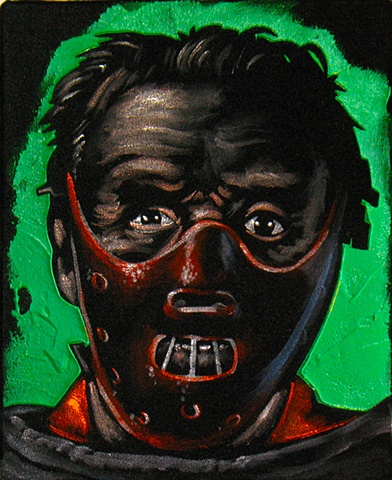 Black Velvet Painting of a Sinister looking man in restraints with a mouth guard.