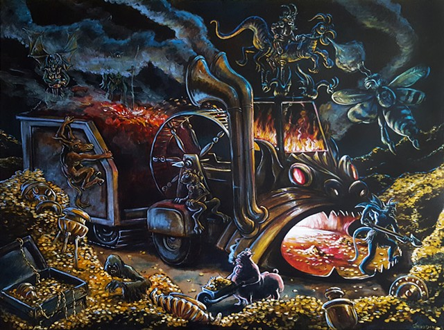 Painting of a demons shoveling gold coins into a furnace