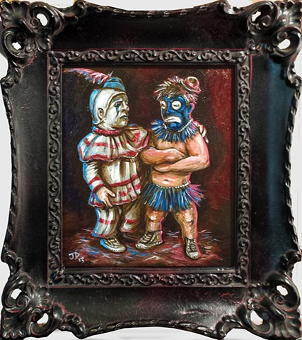 Painting of two midget clowns, one in classic clown outfit, the other in primitive clown attire