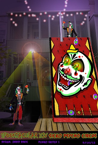 Set Design for two story plinko game with clown face