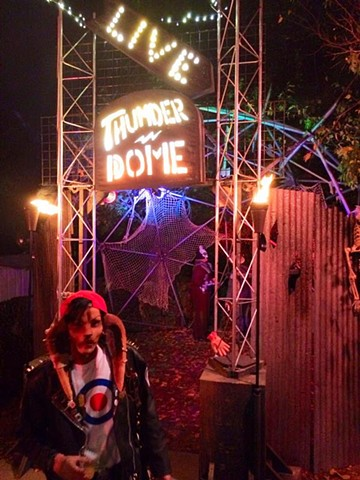 Photo of a backyard Halloween installation of Thunderdome
