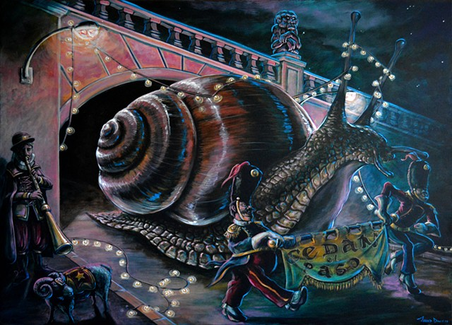 Painting of a giant Snail going through a tunnel