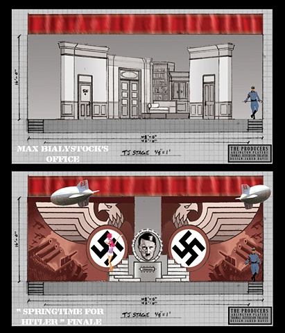 Set Designs for Springtime for Hitler and Max Bialystock's office