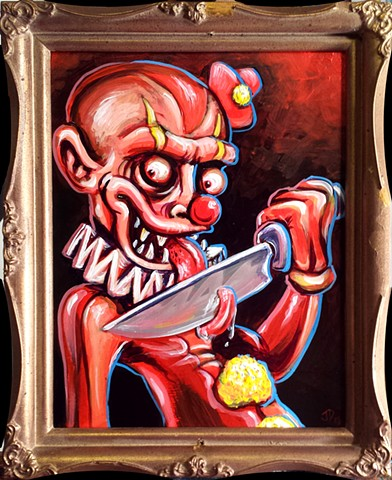 Creepy Evil Clown with a Knife Painting