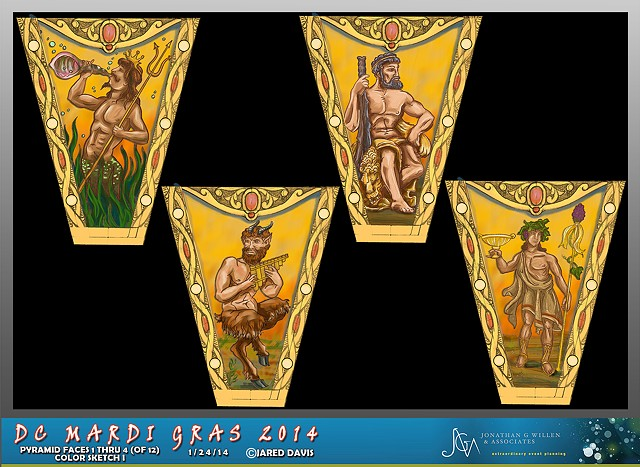 """Inverted Pyramid"" Faces for DC Mardi Gras 2014 1 Through 4"