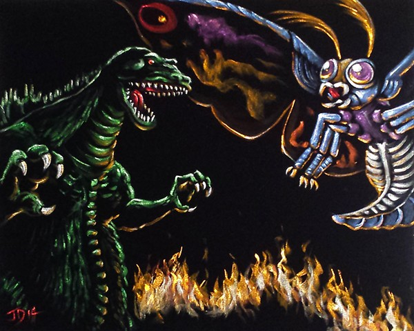 Kaiju Monsters Godzilla and Mothra painted on black velvet