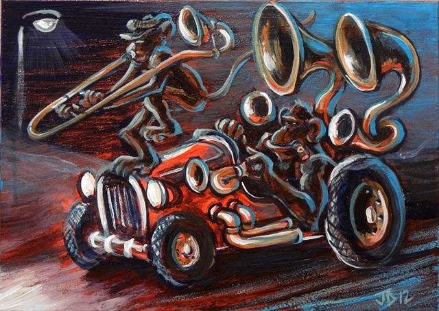 Horn Playing Monkeys in a Hot Rod Painting Small