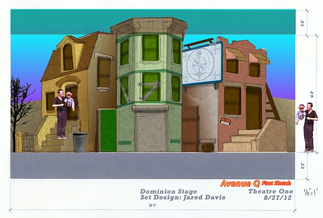 Set Design of Avenue Q for Dominion Stage