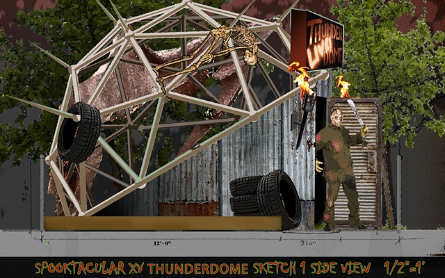 Design for a backyard thunderdome halloween display