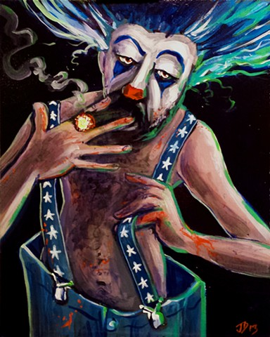 Creepy Carney clown smoking a cigar painting