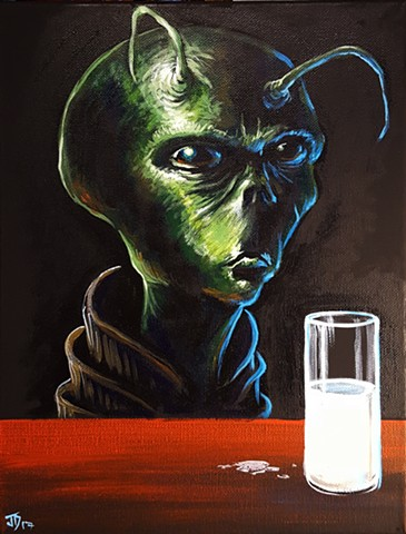 Painting of a Grey drinking milk