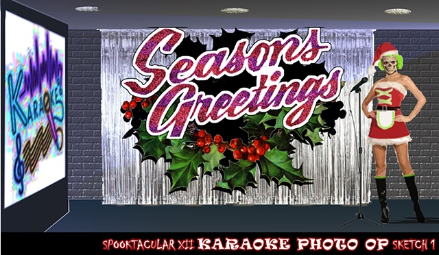 A Seasons Greetings backdrop for Karaoke Hell during a christmas halloween party