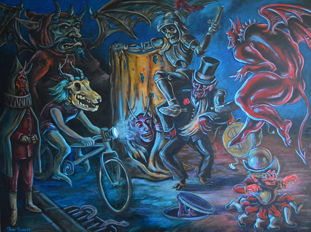 Painting of a Devils parading