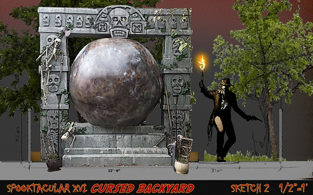 Design of a backyard Halloween Indiana Jones temple with Ball