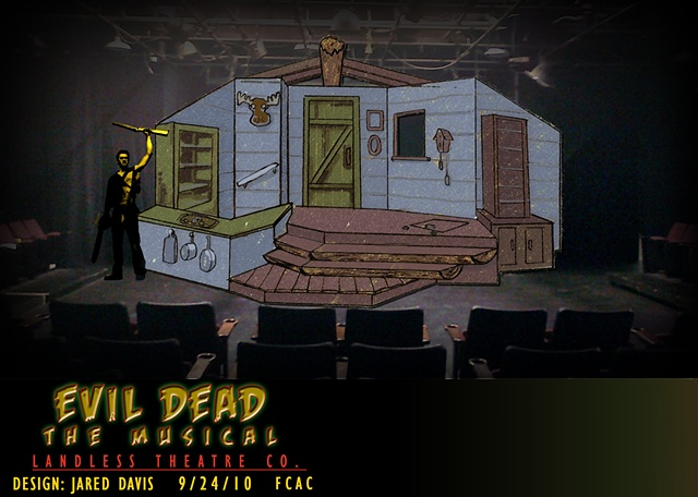 Set design Perspective rendering of Evil Dead the Musical at the FCAC for Landless theatre Company
