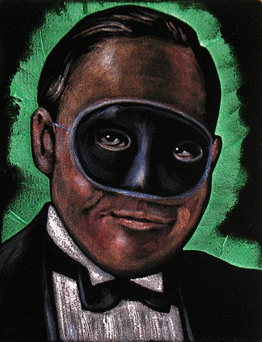 Black Velvet Painting of a Sinister looking man in a mask and tuxedo