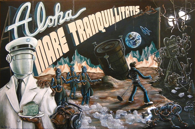 Monkeys filming a movie with Elvis on the Moon painting