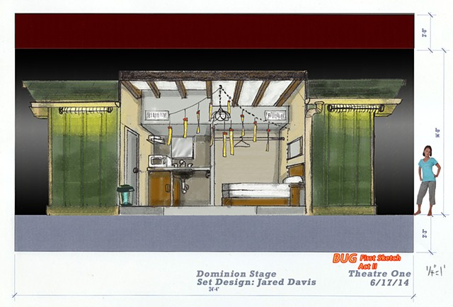 Set design rendering for Bug by Tracey Letts