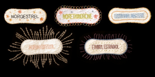 Birth Control Series, named as embroidered individually