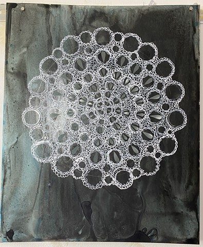 Blue Black Doily 3
