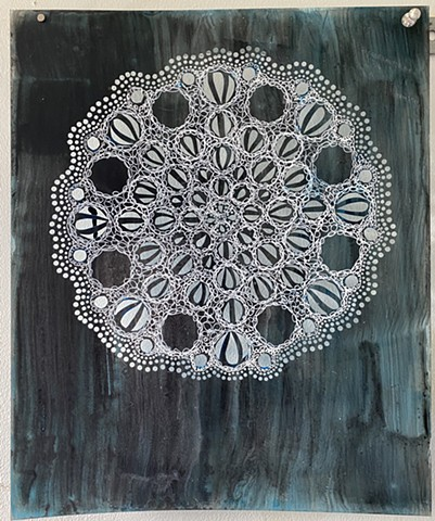 Blue Black Doily 2