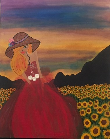 Country girl in field of daisies