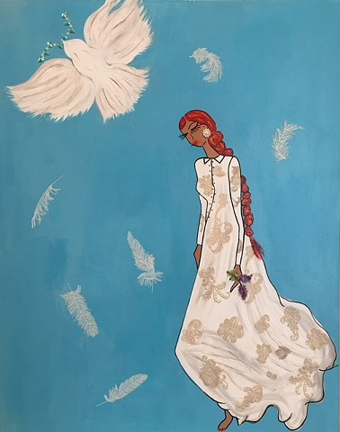 woman with doves, angelic