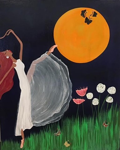 Ballerina under the moon
