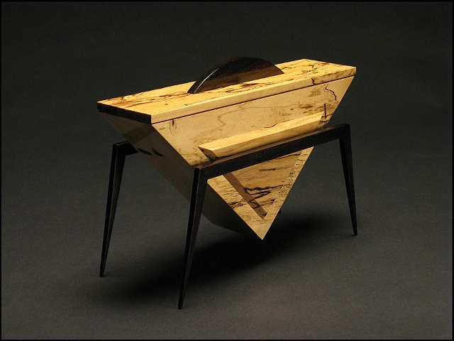 Peace Vessel is a unique sculptural wooden vessel of spalted Maple, ebonized Walnut.