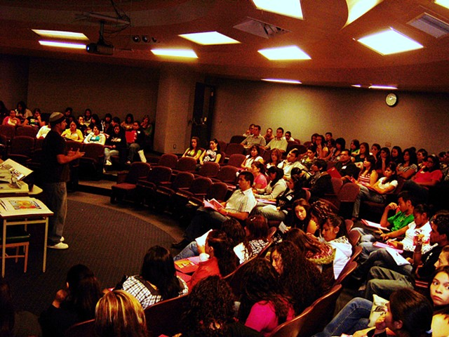 Lecture on Chicano/a Art and Silkscreen Demo for CSU Stanislaus' M.E.Ch.A. youth conference in 2007