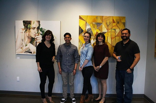 "Standing with past students I included in my curated exhibition at Gallery 1075 titled ""People Being Paintings"" in West Sacramento, CA. 20018"