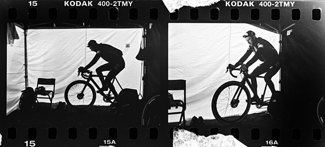 Diptych of Logan Owen warming up inside the team tent.