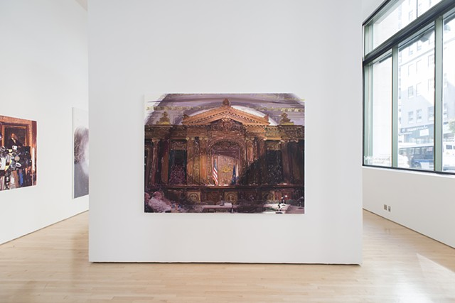 Empty Mics, (Oil on linen, 63 X 84 inches, 2008).  Photo: Sam Drexler