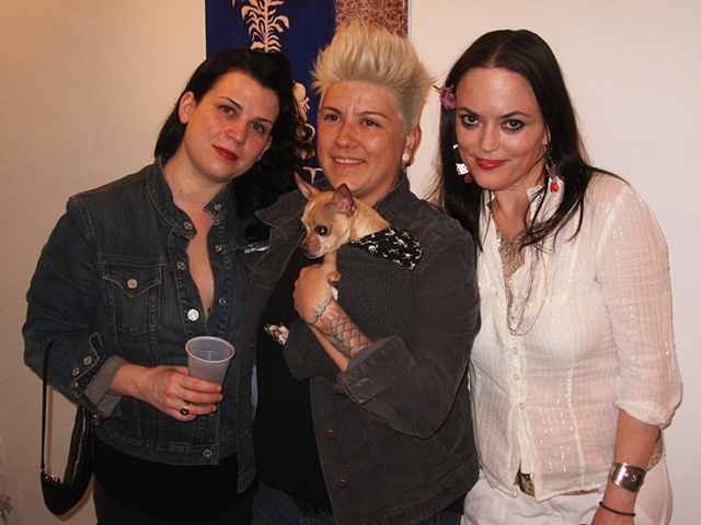 Artist w/patrons at CAM show, at StellaHaus, March 2012