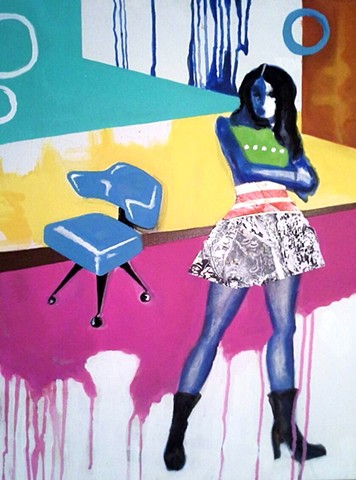 Black Boots, Blue Chair SOLD