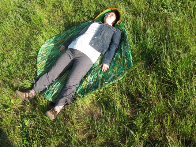 Felt Poncho with Grass Inside Helps wearer activate the natural space around their body