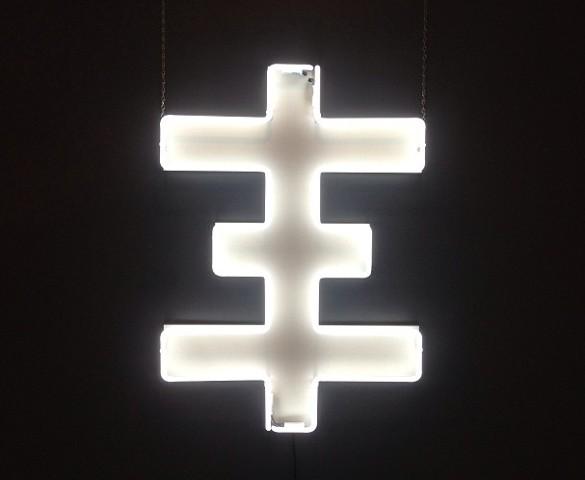 """Thee Ghost"" 30x40x8 Neon Sculpture Genesis P-Orridge/Daniel Albrigo"