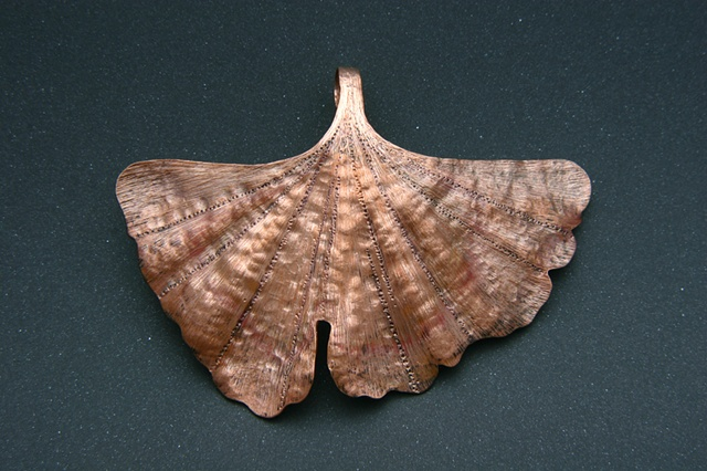 Ginko, leaf, jewels curnow, copper, Chasing, repoussé