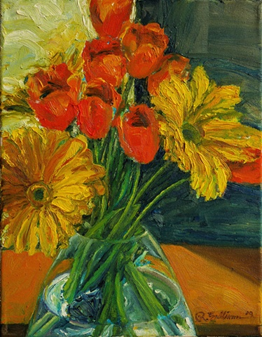 Tulips and daisies in the window