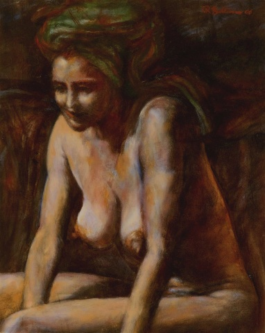 Carolyn by fireside after bath