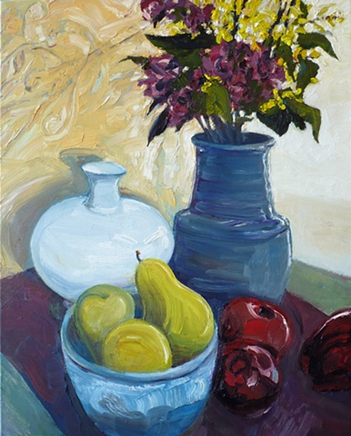 Still life with flowers, apples and pears